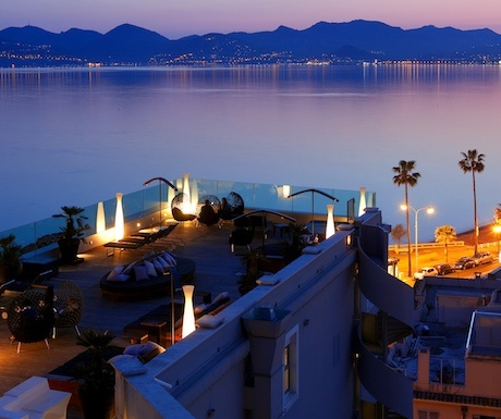 Terrace of Radisson hotel in Cannes, France