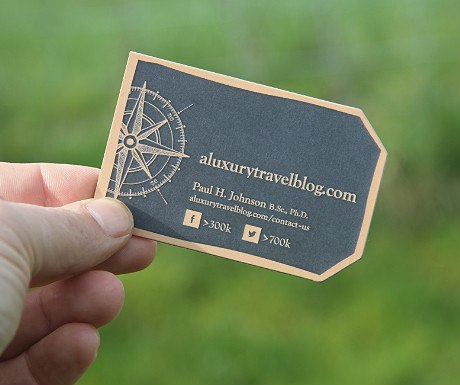 A Luxury Travel Blog business card front side