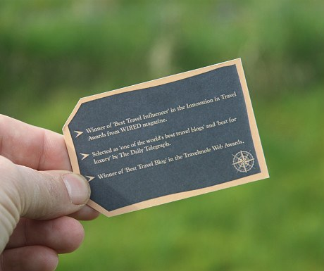 A Luxury Travel Blog business card reverse side
