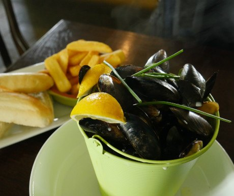 Bucket of mussels at The Ship Inn on Piel Island