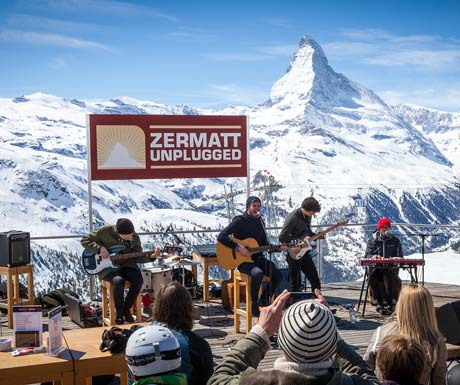 Live music with a mountain view