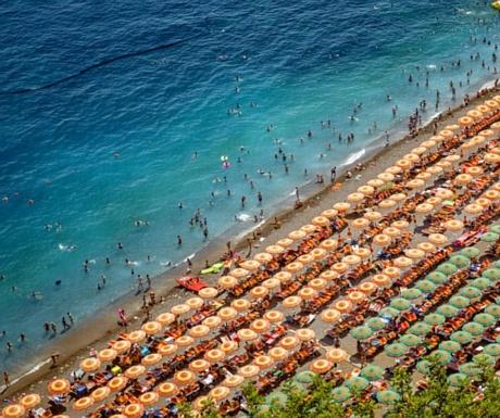 Sunbeds on the Amalfi Coast