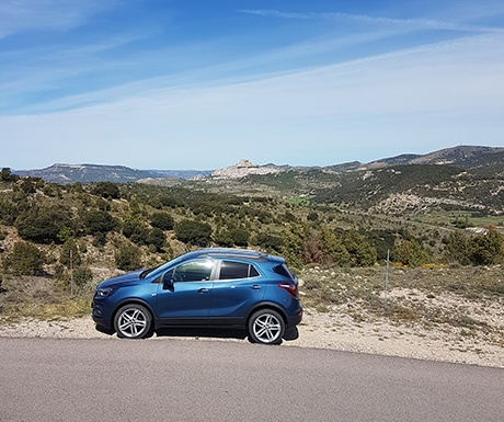 Morella Spain view with car and town in background
