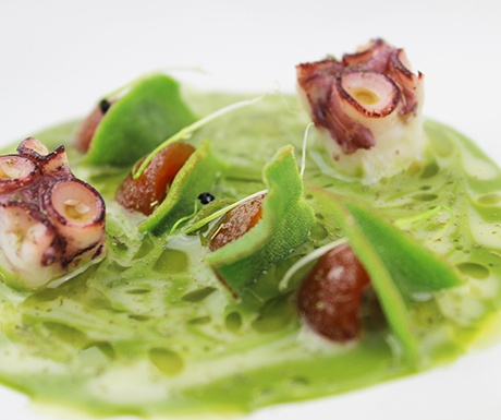 Spain Michelin Star Triangle Les Moles green salad