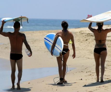 Surfers at Malibu Beach