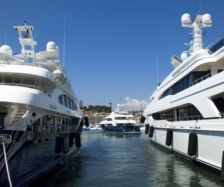 Luxury yachts in the Port of Cannes, France