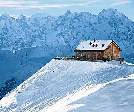 An iconic swiss mountain hut near verbier