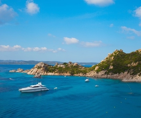 Mangusta yacht at anchor in Sardinia