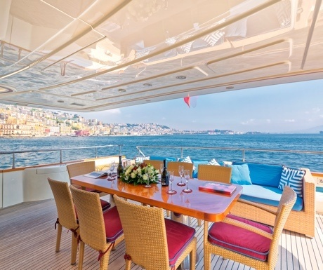 Dining on yacht deck in Italy