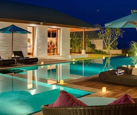Villa Marie pool at night