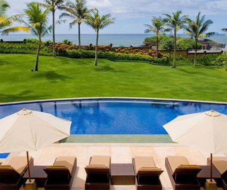 Villa Semarapura views of the beach from poolside