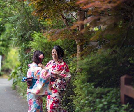 Kimono-wearing Japanese ladies chatting