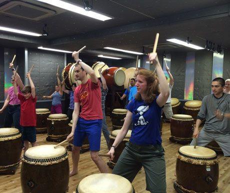 Taiko drumming class in Japan