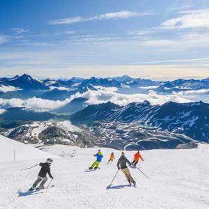 Skiing on the glacier high above Tignes