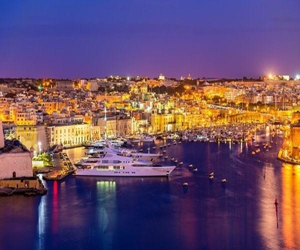 Night sky luxury yachts