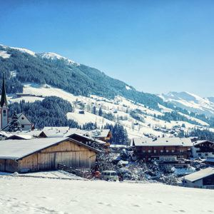 Snow scene ski town Austria