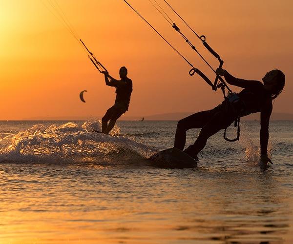 Kite surfing orange sunset mauritius
