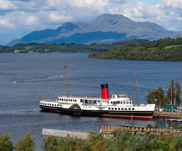 white ship in loch lomond scotland