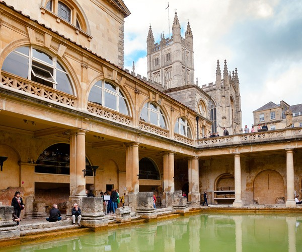 roman baths and abbey in background