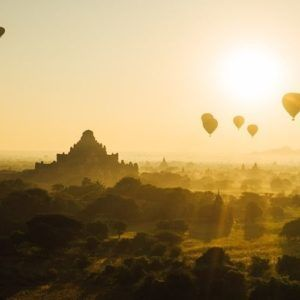 Bagan Sunset with Hot-Air Balloons