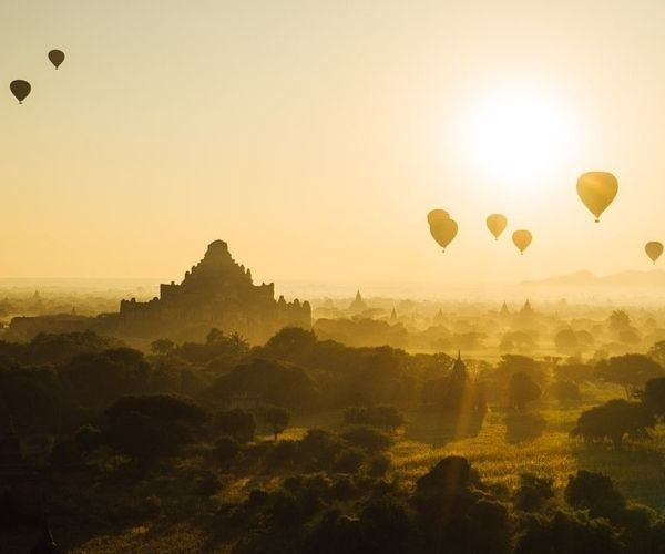 Bagan Sunset with Hot-Air Balloons