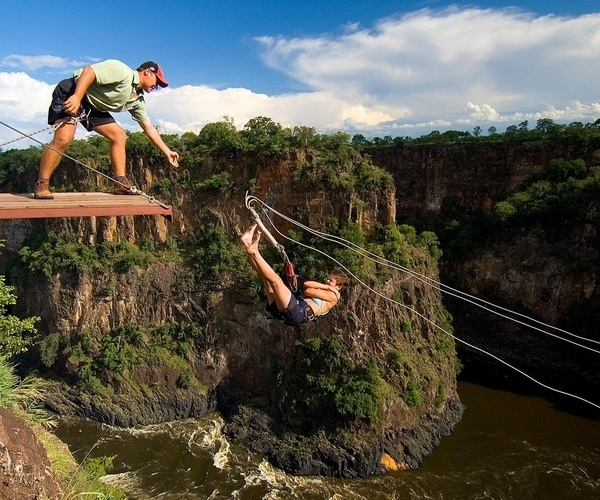 Taking a leap of faith at the gorge swing