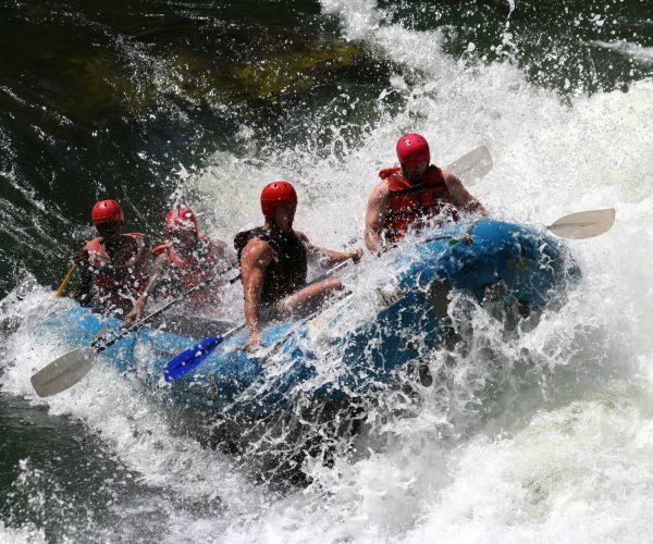 White-water rafting on the Zambezi.