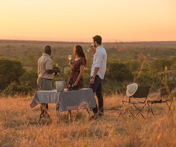 Sundowner drinks in Africa