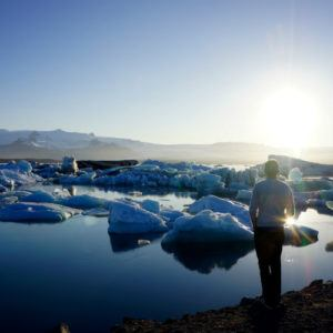 The midnight sun on the glacier lagoon