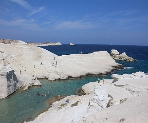 The moonscape rocks of Sarakiniko is one of the many one of a kind swimming areas on the island of Milos