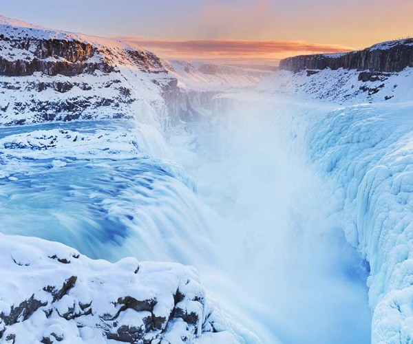 Gullfoss waterfall in winter, Iceland's famous fall in the Golden Circle route