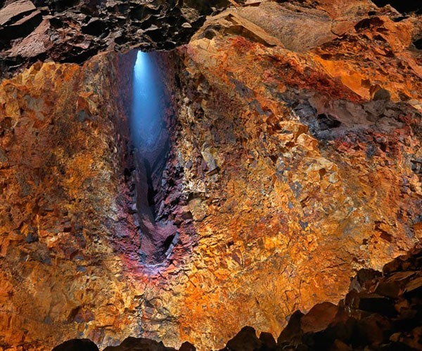 The stunning colors inside the world's only volcano magma chamber that's accessible for visitors, Iceland