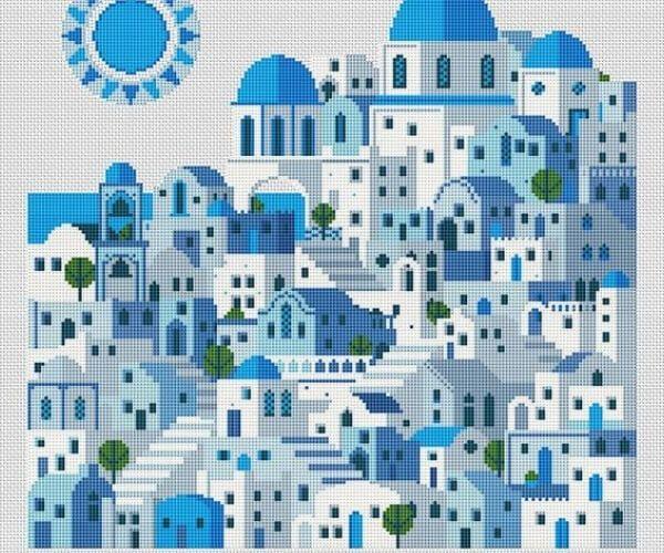 Travel related craft - Cross Stitch Santorini