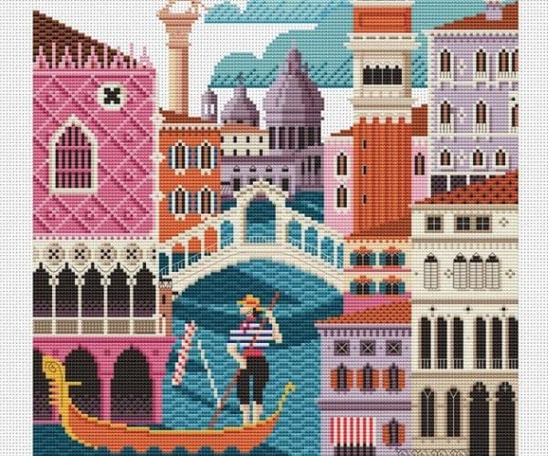 Travel related craft - Cross Stitch Venice