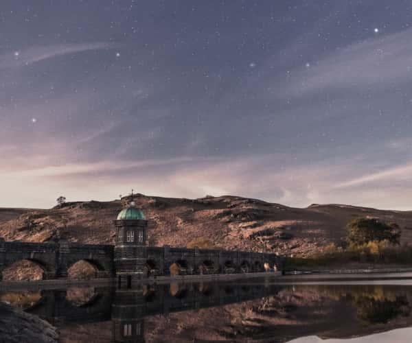 Craig Goch Dam, Powys; A starlit sky in the Elan Valley in Wales