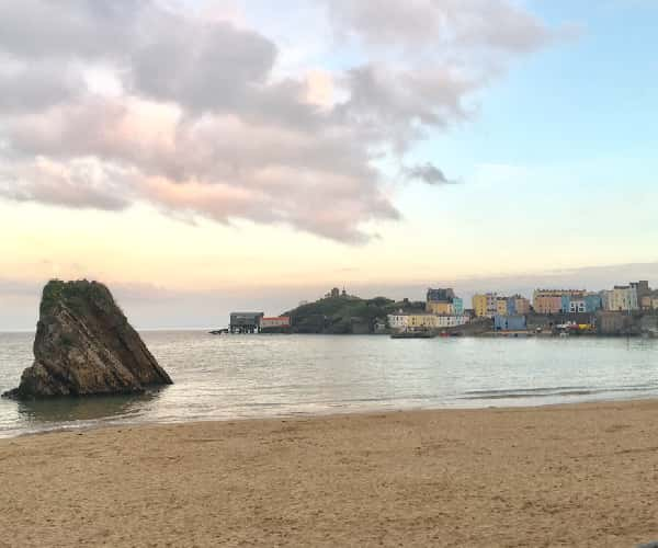 Tenby's North beach and Goscar Rock, one of four beaches in Tenby