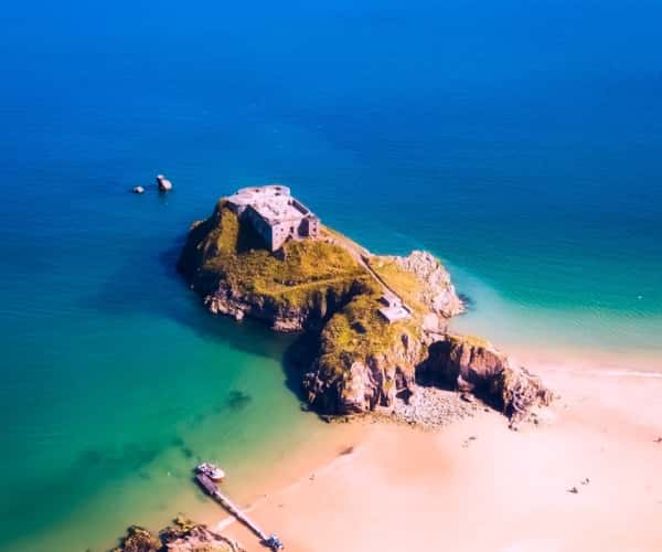 St Catherine's Island in Tenby, where you can walk to when the tide is out