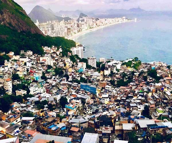 hill with poor people favela