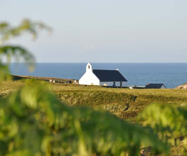 The white church overlooking Mwnt