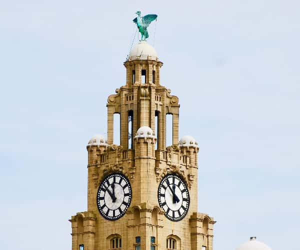 The female Liver Bird is said to be gazing over the River Mersey for sailors entering the harbor